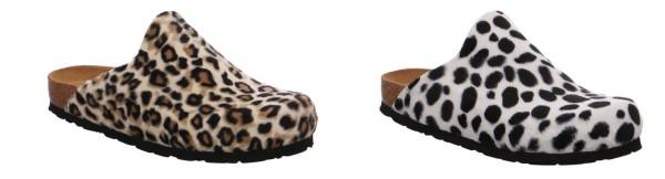 Rohde Alba 6078 Damen Hausschuhe Pantoffel Pantolette Fell Afrika Leopardendruck