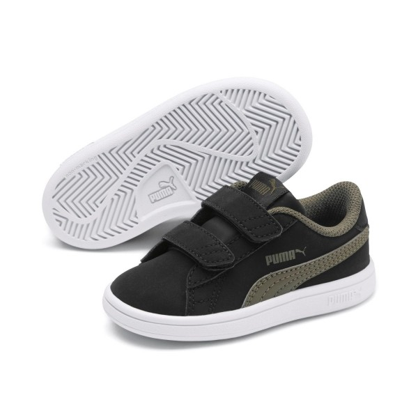 Puma Smash v2 L V Inf Low Top Kinder Schuhe Sneaker Black Burnt Olive