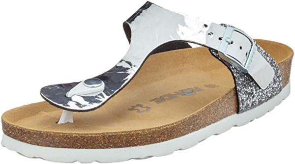 Rohde Alba Damen Sandale Sandalette Zehentrenner Silber