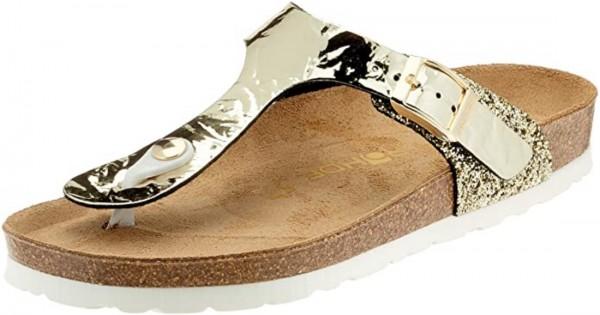 Rohde Alba Damen Sandale Sandalette Zehentrenner Gold