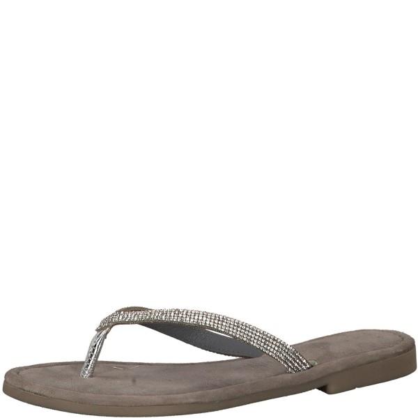 Marco Tozzi Damen 2-27113-22 T-Spangen Sandalen Zehentrenner Sandalette Silber