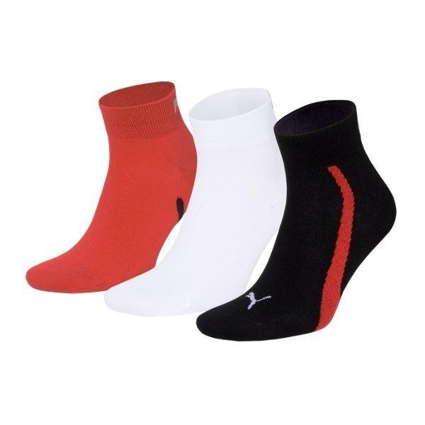 PUMA Lifestyle Quarters 3 er Pack Socken Unisex Schwarz / Rot / Weiß