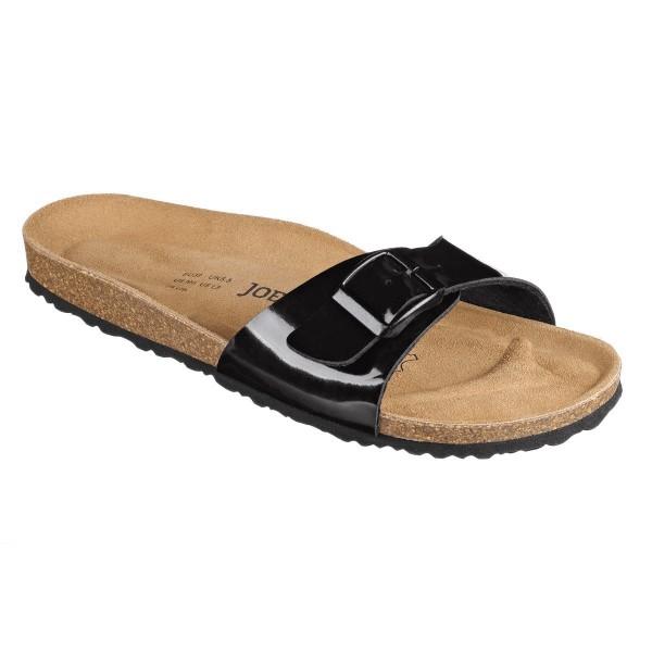 JOE N JOYCE Porto Sandale Kork Sandalette Komfortfußbett Schwarz Lack
