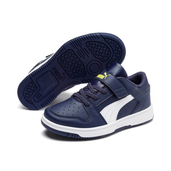 Puma Kinder Rebound LayUp Lo SL v PS Schuhe Sneaker Blau