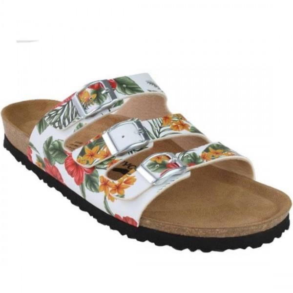 JOE N JOYCE Paris Sandale Sandalette Hausschuhe SynSoft Komfort Hawai Weiß