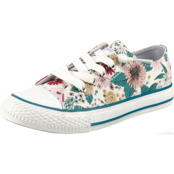 Dockers by Gerli Kinder Low Top Slip-On Sneaker Blumen Halbschuh Freizeitschuh