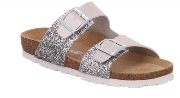 Rohde Alba Damen Sandale Sandalette Pantoletten Hausschuhe Silber
