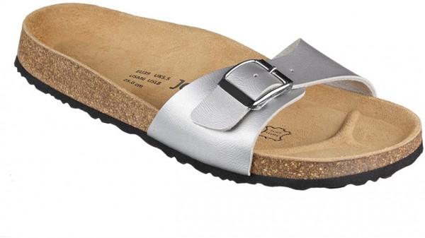 JOE N JOYCE Porto Sandale Kork Sandalette Komfortfußbett Silber