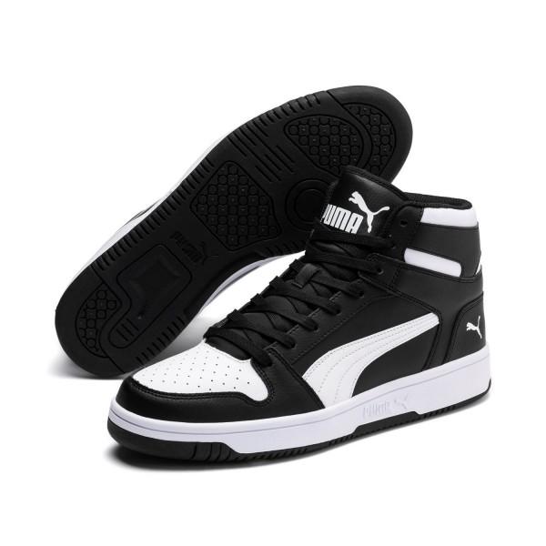 Puma Unisex Rebound LayUp Mid SL Schuhe Sneaker Mid Cut Schwarz Weiß