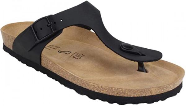 JOE N JOYCE Rio Unisex Zehentrenner-Sandalen mit Komfortfussbett Schwarz