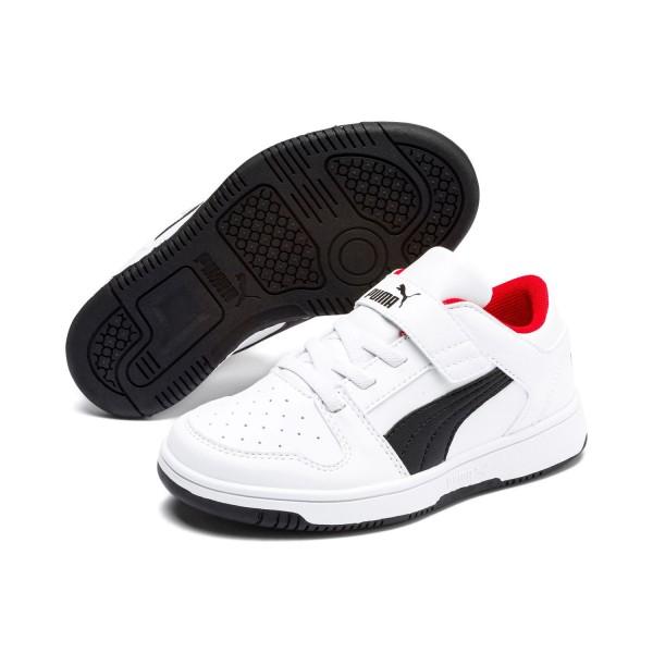 Puma Kinder Rebound LayUp Lo SL v PS Schuhe Sneaker Weiß Schwarz Rot