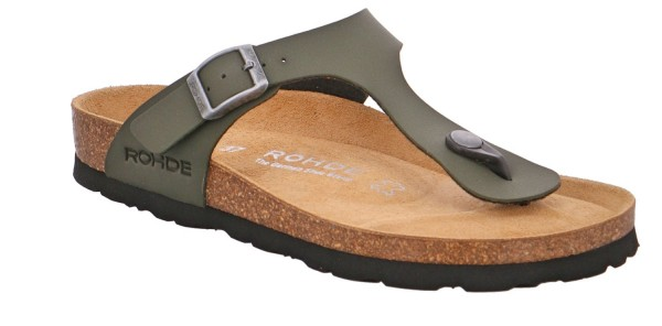 Rohde Alba 5628 Damen Sandale Zehentrenner Hausschuhe Korkfußbett Olive