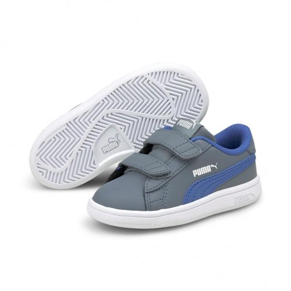 Puma Smash v2 L V Inf Low Top Unisex Kinder Schuhe Sneaker Laufschuhe Grau Blau