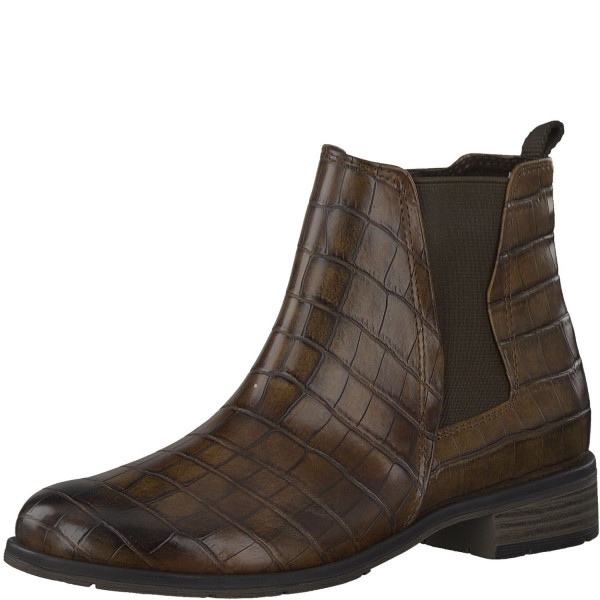 Marco Tozzi Damen Stiefeletten Chelsea Boots Croco