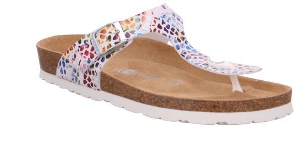 Rohde Alba Damen Sandale Sandalette Zehentrenner Weiß Bunt