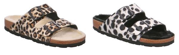 Rohde Alba 6068 Damen Hausschuhe Sandale Pantolette Fell Leopardendruck