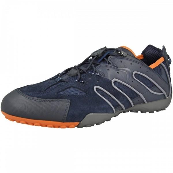 Geox Respira Uomo Snake J Herren Sneakers Schnellschnürung Navy Orange